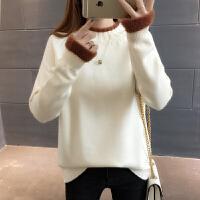 春装新款韩版高领加绒加厚毛衣女士套头宽松短款百搭时尚打底衫潮