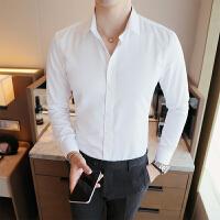 春秋新款男士长袖白色休闲商务衬衣青年韩版修身工作服男衬衫寸衫