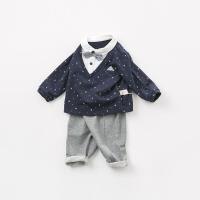戴维贝拉秋冬装新款男童套装 宝宝绅士风两件套DB9965
