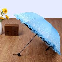 新款雨伞儿童防夹手雨伞蕾丝镶边防晒遮阳伞黑胶伞三折叠太阳伞晴雨伞 93CM*67CM
