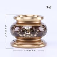 佛堂摆件圣水杯供佛花瓶供果盘佛教用品香炉纯铜观音供具套装 新双色香炉7寸/ 个