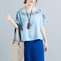 中国棉麻上衣夏季新款民族风棉麻绣花T恤女上衣短袖刺绣衬衫