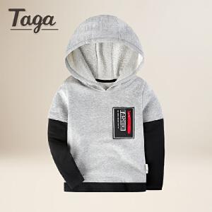 taga童装 2018春装新款男童针织长袖上衣儿童T恤卫衣