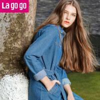 【商场同款】Lagogo/拉谷谷2017年春季新款时尚系带口袋牛仔风衣GAFF23A425