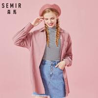森马长袖衬衫女冬季新款复古灯芯绒衬衣腰部绑带翻领设计感潮