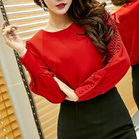 小衫女春装2018新款韩版圆领长袖宽松时尚雪纺衫红色上衣打底衫潮