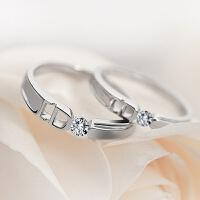 多款可供选择简约日韩男女情侣戒指仿真钻石饰品结婚对戒一对活口