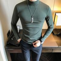 男士秋冬纯色打底T恤衫 青年潮时尚长袖修身保暖中领T恤 半高领