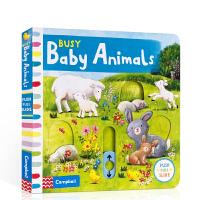英文原版 Busy Baby Animals 低幼儿机关玩具纸板书操作抽拉书 儿童启蒙动物认知 0-3-6岁