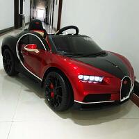 儿童电动汽车可坐人布加迪四轮遥控1-3-5岁充电摇摆男女孩玩具车 烤漆红-顶配 大电瓶皮座椅