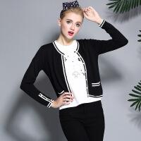 新款毛衣开衫女短款欧美 黑白撞色双口袋精致针织毛衣开衫女