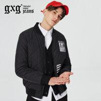 gxg.jeans男装冬季黑色长袖青年棒球服夹克外套64621066