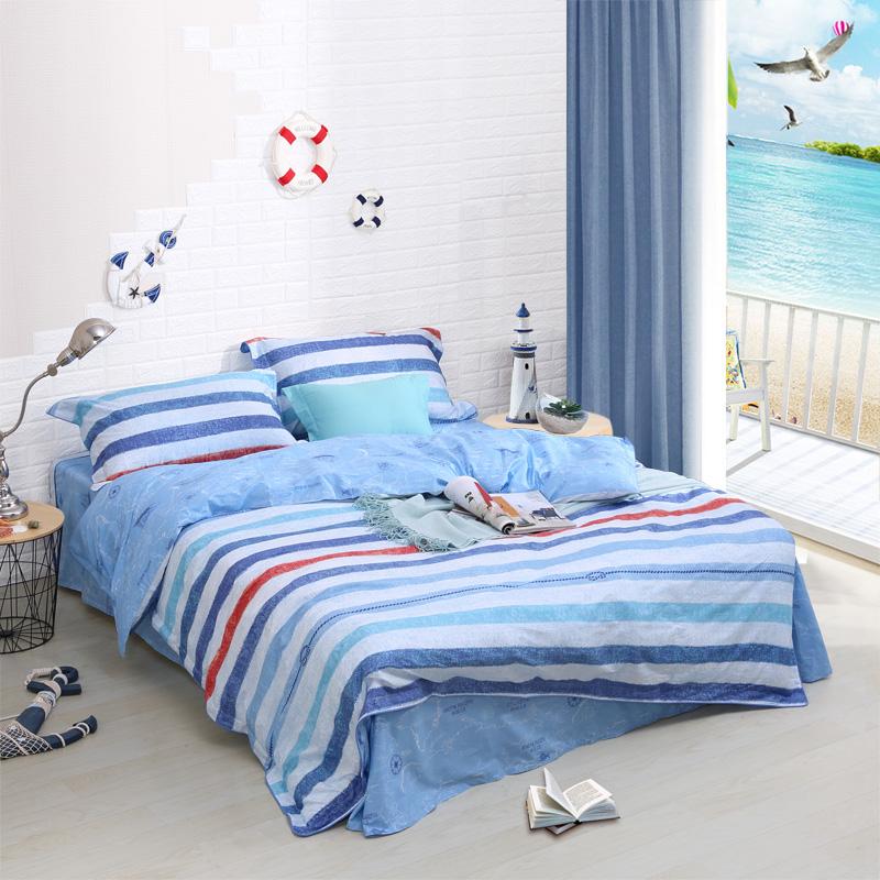 富安娜出品 纯棉套件全棉学生宿舍三件套床单四件套中性简约