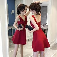 红色连衣裙女夏新款韩版显瘦性感露肩v领露背裙子潮