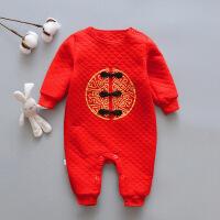 宝宝唐装年装保暖冬男女婴儿抓周满月周岁衣服红色百岁服