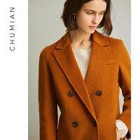 初棉2019春装新款纯羊毛圆领双面呢大衣长款西装式毛呢外套K