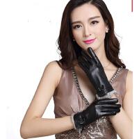 女式蝴蝶结保暖冬季加绒加厚款真皮手套