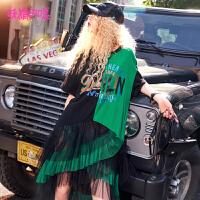 妖精的口袋嬉皮裙子2018新款不对称拼接chic短袖连衣裙女