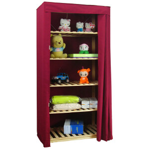 【每满100-50】宜哉 15型 87CM宽松木实木简易衣柜 简易布衣橱柜