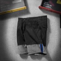 日系复古拼接牛仔短裤男夏季薄款大码原宿风学生社会小伙五分裤