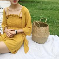时尚韩版休闲套装夏季短款裹胸吊带+阔腿短裤+防晒衫外套三件套潮