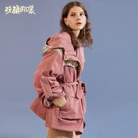 妖精的口袋Y韩版大衣冬装2018新款粉色撞色潮保暖白鸭绒羽绒服女