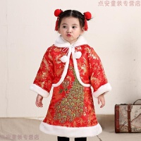 冬季新款女童中国风儿童绣孔雀旗袍唐装公主裙宝宝新年服古筝演出