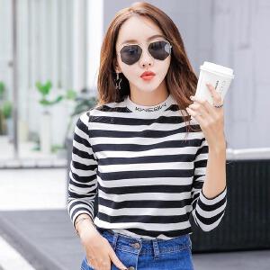 秋装新款韩版半高领条纹长袖T恤女休闲百搭上衣修身显瘦打底衫