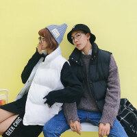 棉服大口袋冬季坎肩情侣装棉马甲无袖外套立领潮流港风男女加厚