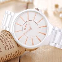 白色陶瓷女表时尚潮流陶瓷表石英女士水钻情侣手表