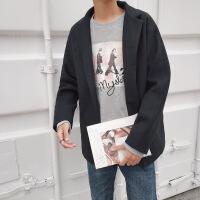 秋冬呢子大衣男短款韩版加厚毛呢外套日系复古青年落肩帅气风衣