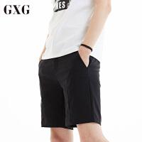 【GXG过年不打烊】GXG休闲裤男装 夏季男士时尚青年气质休闲都市潮流黑色短裤男