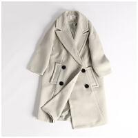 春季新款女装韩版西装领双排扣中长款保暖外套毛呢大衣CY