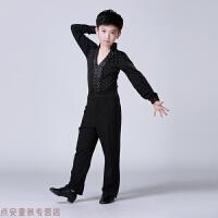 冬季男童拉丁舞演出服男孩新款考级比赛练功服夏儿童舞蹈表演服装男生秋冬新款 黑色 黑色套装