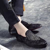 米乐猴 潮牌男皮鞋刺绣单鞋透气尖头皮鞋男英伦复古个性一脚蹬休闲鞋男潮鞋子男鞋
