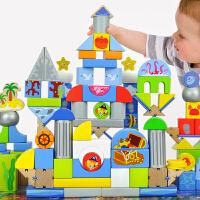 加勒比寻宝记儿童积木玩具木制大块桶装积木宝宝玩具