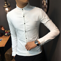 新款小版男装衬衫长袖小码XS号160修身纯色上班衬衣S码型男发型