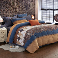 美式秋冬生态全棉磨毛四件套纯棉条纹被罩1.8加厚床单2米保暖床品