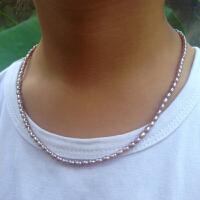 2-3mm小米粒型米形珍珠项链手链锁骨链DIY半成品可挂吊坠强光秀气 2-3mm