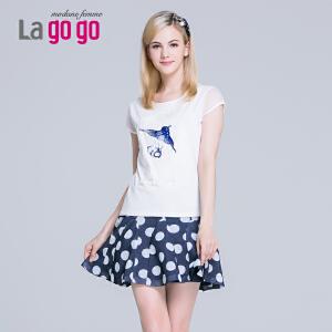 【每满200减100】Lagogo/拉谷谷2015夏季新款修身显瘦纱网袖贴布亮片T恤