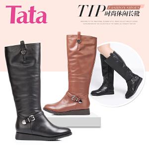 Tata/他她 年专柜同款时尚休闲小牛皮革女靴2N982DG5