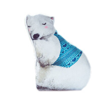 冬日动物世界公仔睡觉抱枕靠垫可爱娃娃创意萌睡觉布偶女生 如图