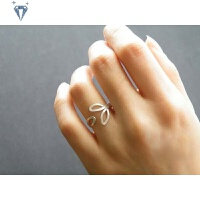 999纯银戒指 叶子戒指女个性开口戒指老匠银手工纯银饰品时尚银戒