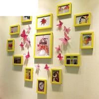 简约心形照片墙贴纸装饰相片墙相框墙挂墙组合夹子悬挂无痕钉网格