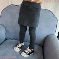 女童打底裤加厚冬2018 新款婴儿童假两件裙裤宝宝裤子0加绒1-3岁4 深灰色 假两件裤裙
