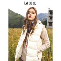 Lagogo/拉谷谷2018年秋季新款时尚学院风立领羽绒马甲HCYY139A76