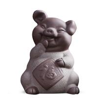 紫砂茶宠欢喜纳福猪创意茶宠茶玩茶具茶盘茶道工艺摆件