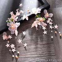 新娘头饰森系仙美头饰甜美花朵发箍韩式手工婚纱配饰品 头饰+耳夹