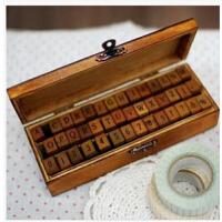 韩国 复古木盒 DIY字母+数字+标点印章礼盒套装 42枚入