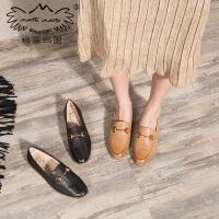 玛菲玛图羊皮单鞋女秋季新款浅口圆头低跟平底套脚鞋时尚马衔扣乐福鞋3649-2